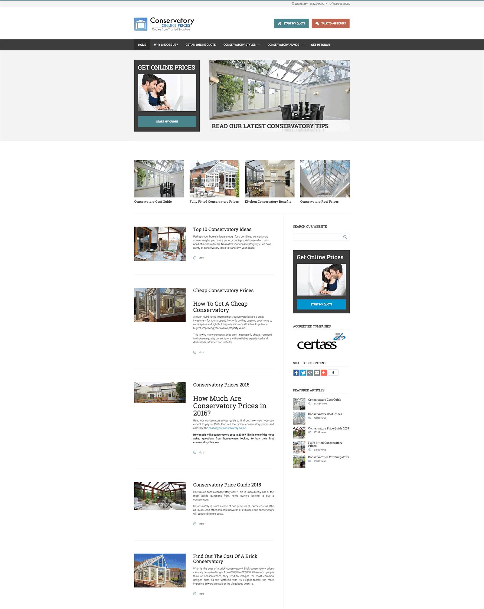 conservatory online prices website