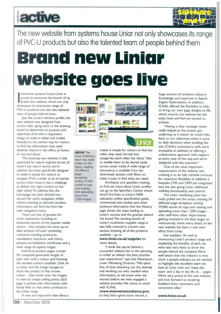 liniar website article