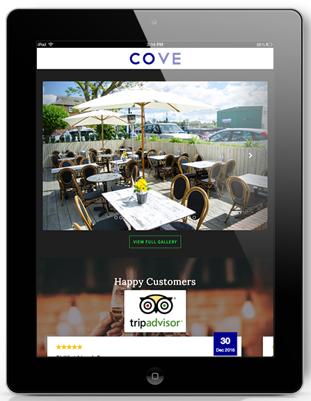 visit cove restaurant screen ipad