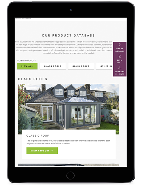 Ultraframe New website on Tablet