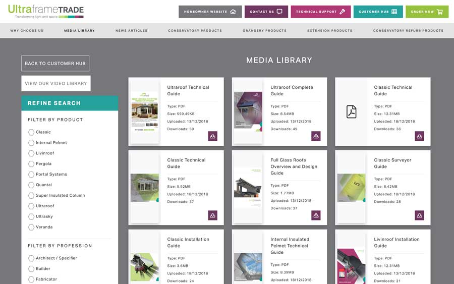 Ultraframe Trade Website Designer